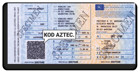 Kod aztec na dowodzie rejestracyjnym